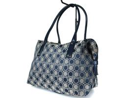 Authentic SALVATORE FERRAGAMO Gancini Canvas Navy Blue Shoulder Bag FS10... - $139.00