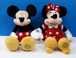 "Disney Store Original Mickey & Minnie Mouse Plush Stuffed Dolls 12""  - $43.29"