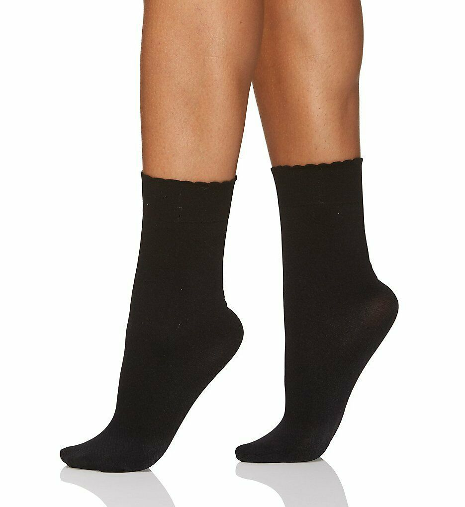 Berkshire BLACK Cozy Hose Plush Lined Scalloped Anklet, US Plus(9-12) image 2