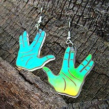 Spock Vulcan Salute Hand Gesture Iridescent Dangle Earrings, Live Long and Prosp