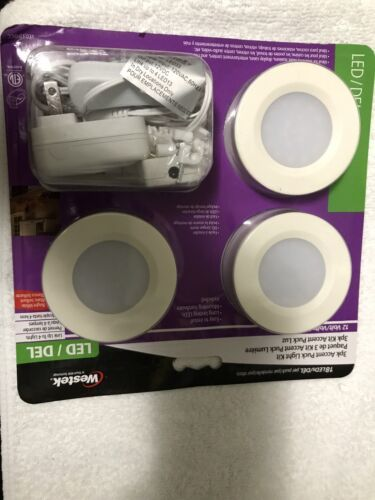 "Westek LED33HBCC 2.75"" LED Ultra-Slim Under Cabinet Puck-3 -Pack- Brand New"