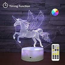 [Wall Adapter Included] Remote & Touch Control LED Unicorn Night Light with Time