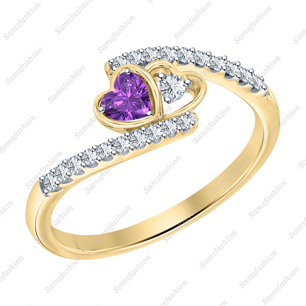 Primary image for Heart Shaped Amethyst & Dia 14k Yellow Gold 925 Silver Double Heart Wedding Ring