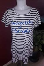 FLORIDA GATORS UF Women M Long Shirt Top Short Dress Black/White Striped... - $4.94