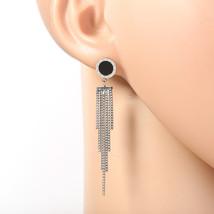Designer Silver Tone Earrings, Black Faux Onyx Circle, Roman Numerals & Tassels - $24.99