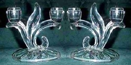 Indiana Glass Double Candlesticks Leaf Stem Design PAIR - $34.99