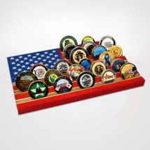 RED WHITE AND BLUE USA FLAG CHALLENGE COIN WOOD  DISPLAY STAND RACK - $94.99