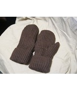 Handmade Recycled Wool Fleece Lined Mittens Brown Ribbed  Ladies/Teens S... - $14.85