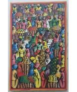 Signed JOHN - Haitian Women Marketplace Scene - Naif Native Art Painting... - $1,273.99