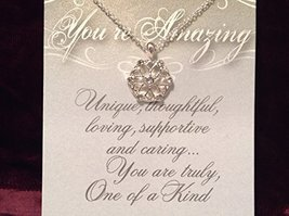 You Are Amazing Crystal Snowflake Necklace with Gift Card