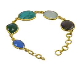 cute Multi Gemstone Gold Plated Multi Bracelet Natural handmade US gift - $17.86