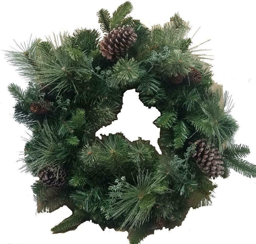 "24"" Battery Operated Mixed Greenery Wreath Decorated with Pine Cones and Lights"