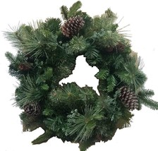 "24"" Battery Operated Mixed Greenery Wreath Decorated with Pine Cones and Lights image 1"