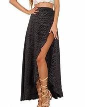 GIKING Women Vintage Skirts, Polka Dots High Waist Wrap Split Skirts Bla... - $27.60