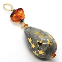 18K YELLOW GOLD PENDANT, AMBER, CITRINE POTTERY DROPS HAND PAINTED IN ITALY STAR image 3