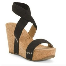 Lucky Brand Size 8 Maxyne Wedge Sandals Black Linen Elastic Cork  - $49.49