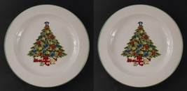 Alco Set of 2 Holiday Christmas Tree Dinner Plates with Gifts Train Tedd... - $4.94