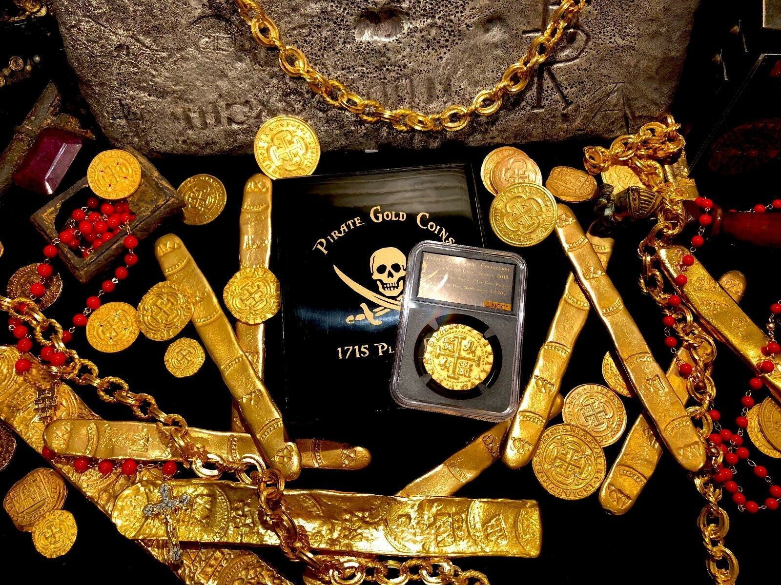 PERU 1708 8 ESCUDOS NGC GOLD PLT 1715 SHIPWRECK PIRATE GOLD COINS  TREASRUE