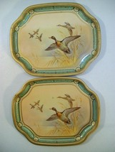 2 VINTAGE BARET WARE METAL HORS D'OEUVRE TRAYS GAME DUCKS ENGLAND NO 156 - $21.51