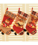 Christmas Santa Snowman Stocking Candy Bag Linen Woven Xmas Gift Decoration - $12.99