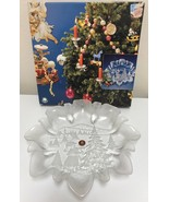 Walther Glas Christmas Star Plate Germany Embossed Frosted Glass Serving... - $38.99