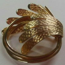 Vintage Signed COROCRAFT Gold-tone Textured Brooch - $57.92