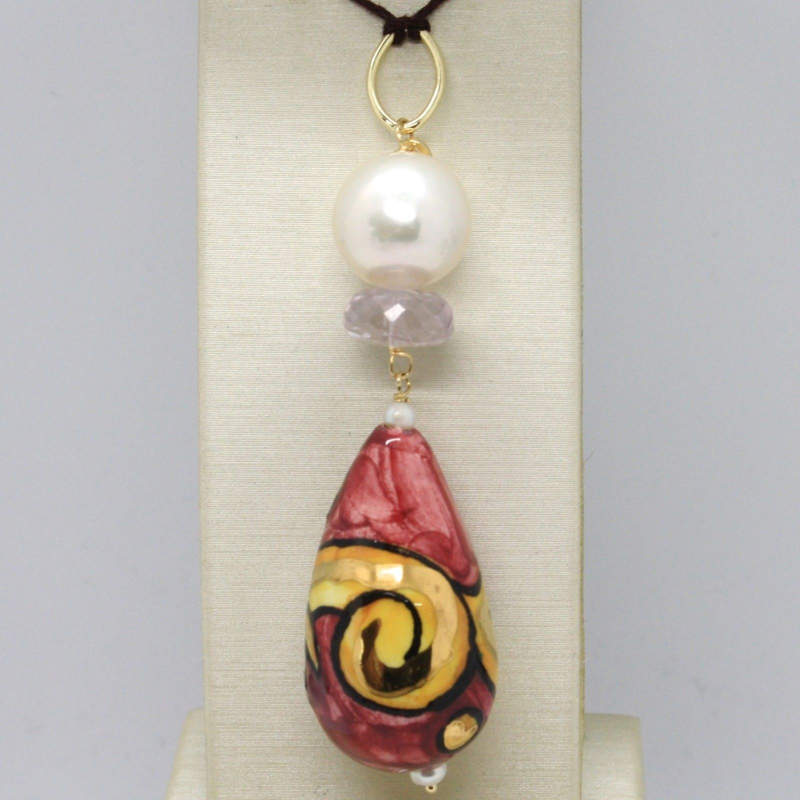 18K YELLOW GOLD PENDANT AMETHYST, PEARL & CERAMIC BIG DROP HAND PAINTED IN ITALY