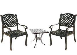 3 piece bistro patio set table and chairs Nassau outdoor cast aluminum furniture image 1
