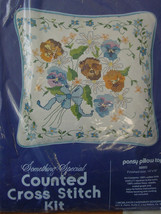 "Vintage Counted Cross Stitch Kit Pansy Pillow Top by Something Special 14"" X 14"" - $13.99"