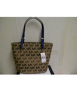 Michael kors jet set mid tote handbag blue handle - $118.75