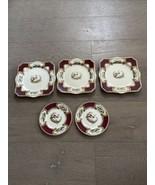 VTG Staffordshire Chelsea Bird Red Lot 3 Luncheon Square Plates 2 Bread ... - $70.00