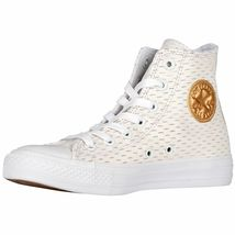 Converse All Star Leather High White Out Pack White/Gold 153115C Mens Shoe image 3