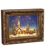 Raz Imports water glitter lighted lantern Christmas Picture church Sleig... - $54.50