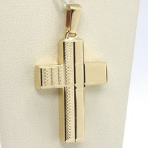 Yellow Gold Cross Pendant 750 18k, Square, finely worked, Italy Made image 1