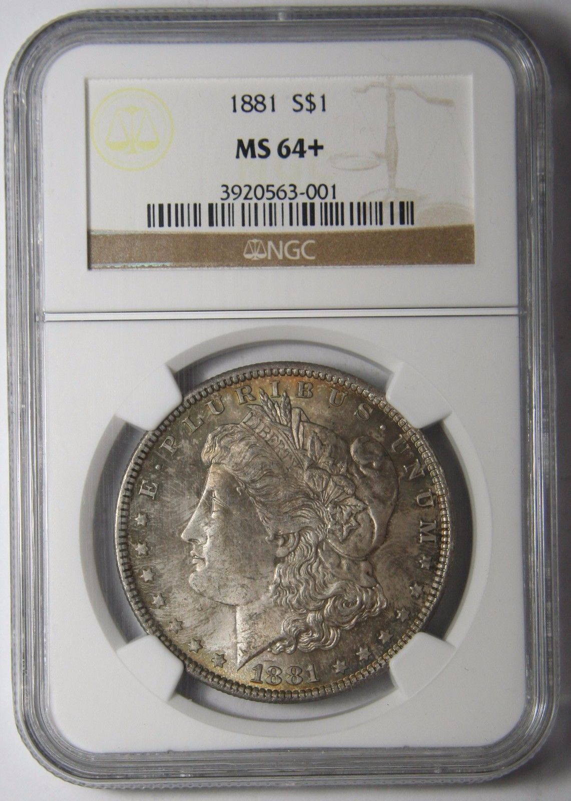 1881 MORGAN SILVER MS64+ DOLLAR NGC MS 64+ COIN Lot SR 631