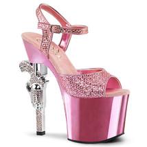 """PLEASER Sexy 7"""" Rhinestone Heel Pink Chrome Platform Glitter Stripper Shoes - $87.95"""