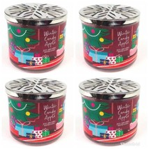 Bath and & Body Works 3 Wick 14.5oz Winter Candy Apple Candle~lot Of 4 NEW - $48.16