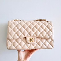 AUTH CHANEL BEIGE LAMBSKIN QUILTED JUMBO DOUBLE FLAP BAG GOLD HARDWARE image 2