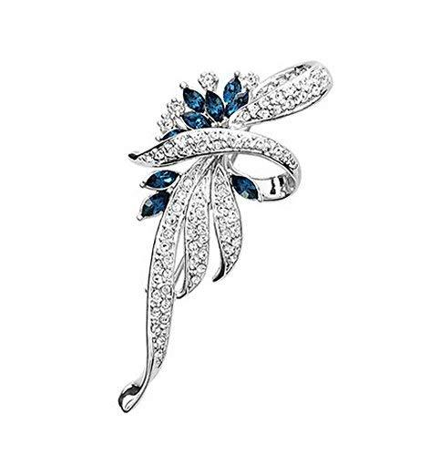 Men Women Gifts Fashion Shining Crystal Brooches and Pins Blue