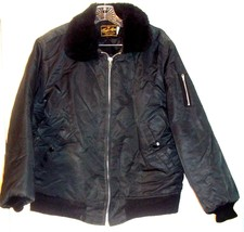 Timber King Black Quilted Jacket w/Fur Collar and Zippered Arm Pocket Si... - $61.75