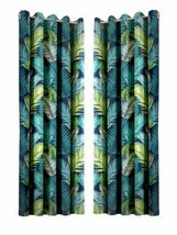 TROPICAL PALM LEAF LEAVES TEAL GREEN FULLY LINED ANNEAU TOP CURTAINS 7 S... - $33.61+