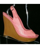Jessica Simpson 'Genette' pink man made snake print slingback wedges 9.5M - $33.30