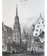GERMANY Nuremberg Main Square & Beautiful Fountain - SUPERB 1843 Antique... - $72.00