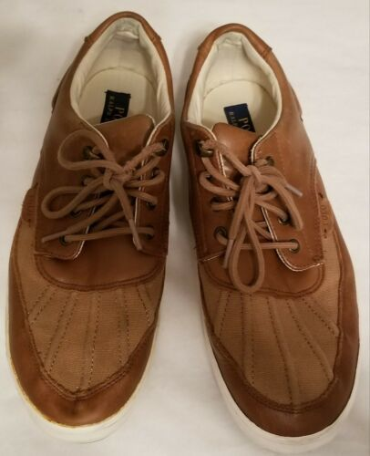 Polo Ralph Lauren ::RAMIRO:: Men's Leather Sneakers 12D Brown Casual Shoes EUC