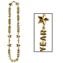"Club Pack of 12 Happy New Year Gold Beads-of-Expression Necklace 36"" - €27,12 EUR"