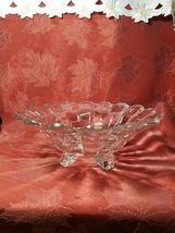 """VINTAGE  American Four Footed Glass Bowl w Flared Top Edge 10""""x4"""" image 3"""