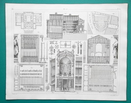 THEATER Stage Construction Berlin Dresden Paris - 1844 Superb Print - $25.20