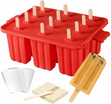 12 Cavity Silicone Popsicle Molds w/Tray Cover Lid + Sticks + Brush + Bags - $22.67