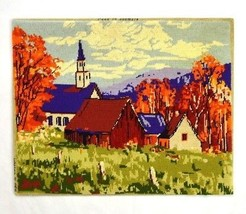 Vintage Country Church Autumn Needle Point On Wood Un Framed Wall Art Te... - $12.86