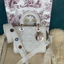 100% AUTH Christian Dior White Lady Dior Cannage Lambskin Shoulder Tote Bag GHW image 2